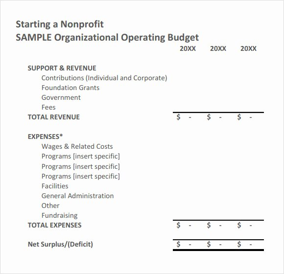 Sample Nonprofit Bud Template