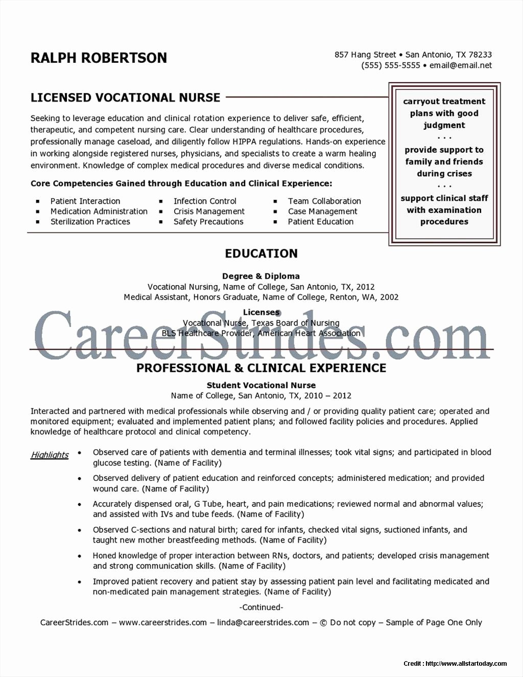 Sample Nurse Lvn Resume Resume Resume Examples Vdgojk7aze