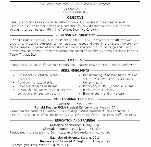 Sample Nurse Practitioner Resume New Graduate Examples