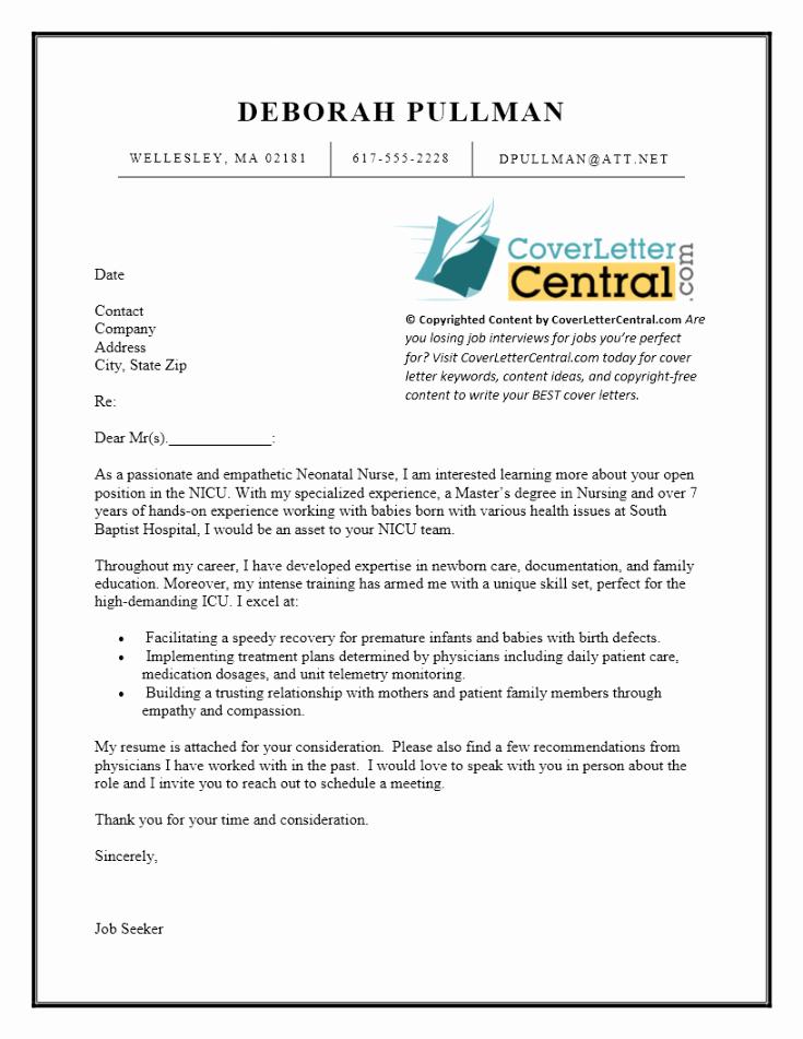 Sample Nursing Cover Letter for Job