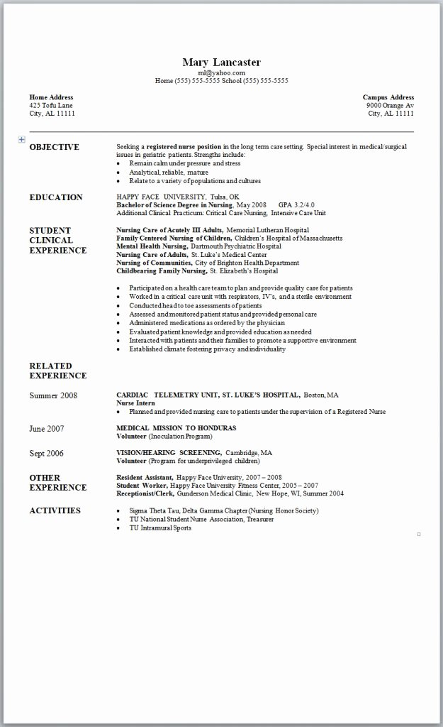 Sample Nursing Resume New Graduate Nurse