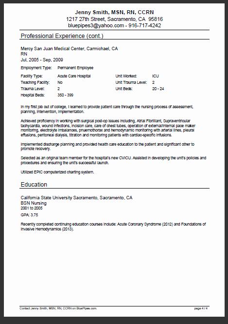 Sample Nursing Resume Rn Resume Bluepipes Blog