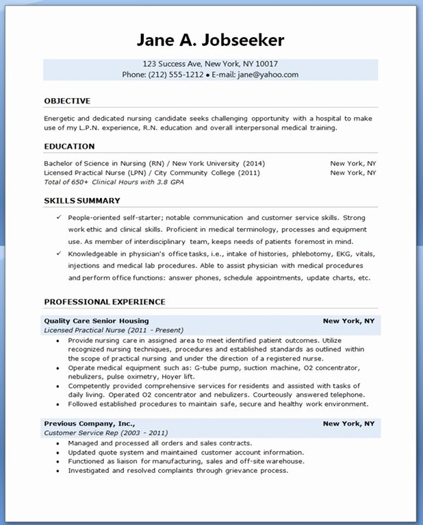 Sample Nursing Student Resumes