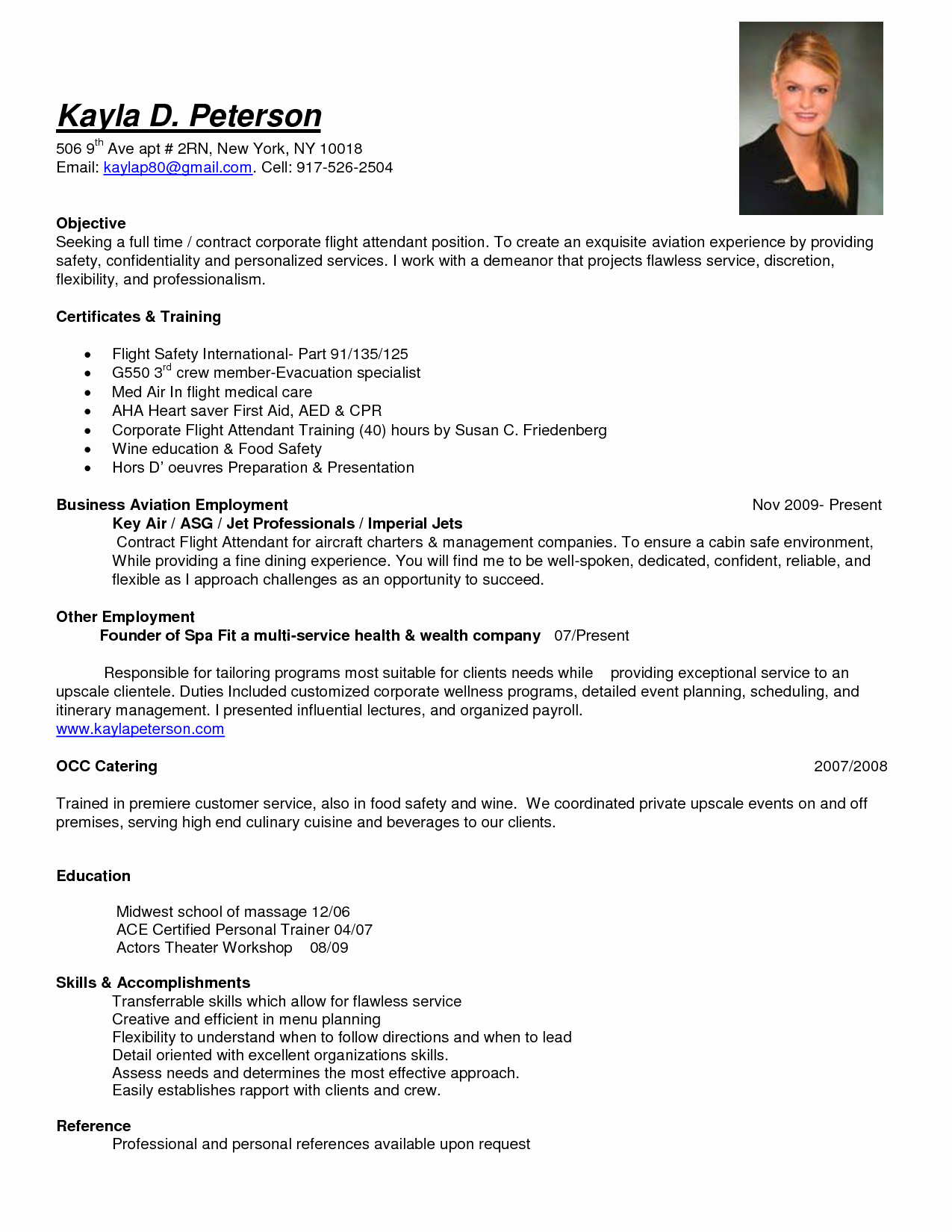 Sample Objective Full Time Corporate Flight attendant Job