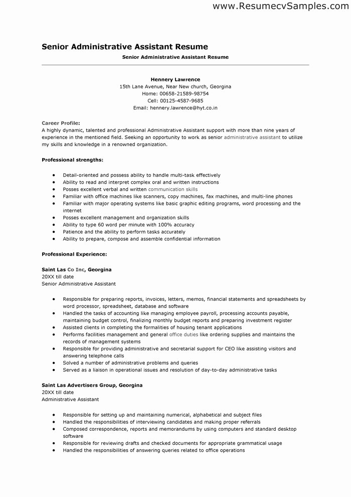 Sample Objective Resume for Administrative assistant