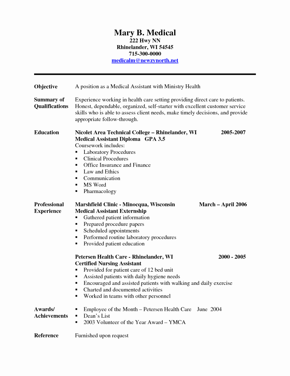 Sample Of A Medical assistant Resume
