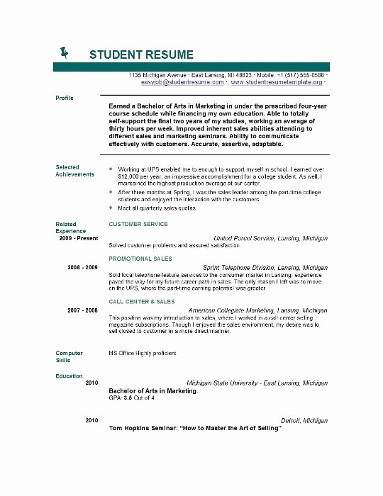 Sample Of College Student Resume