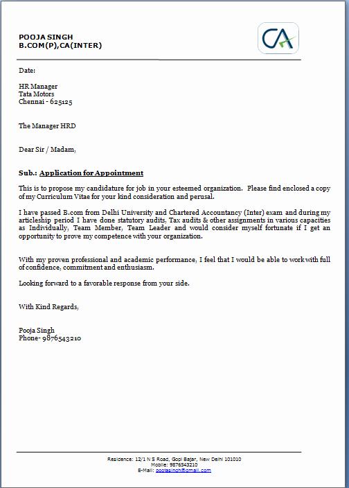 Sample Of Job Application Letter
