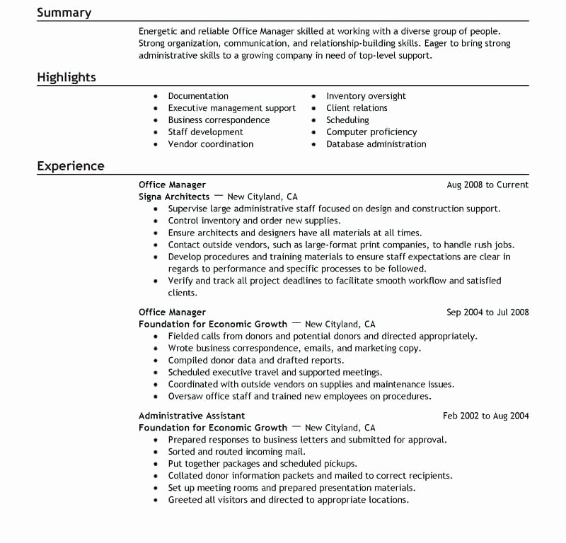 Sample Office Administrator Resume – Resume Ideas