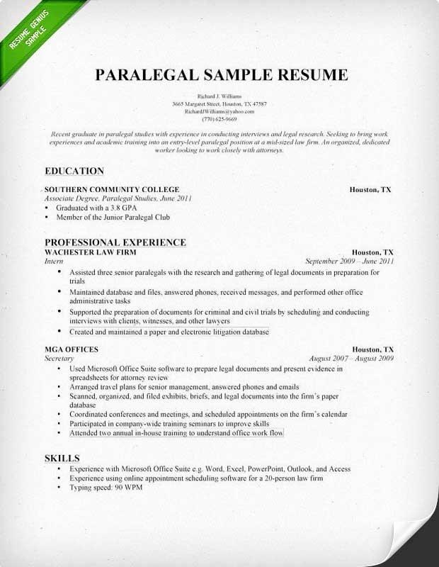 Sample Paralegal Resume Best Resume Gallery
