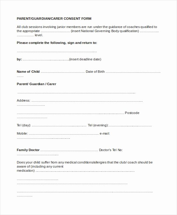 Sample Parental Consent form 10 Free Documents In Word Pdf