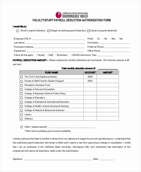 Sample Payrolle Deduction form 12 Free Documents In Pdf