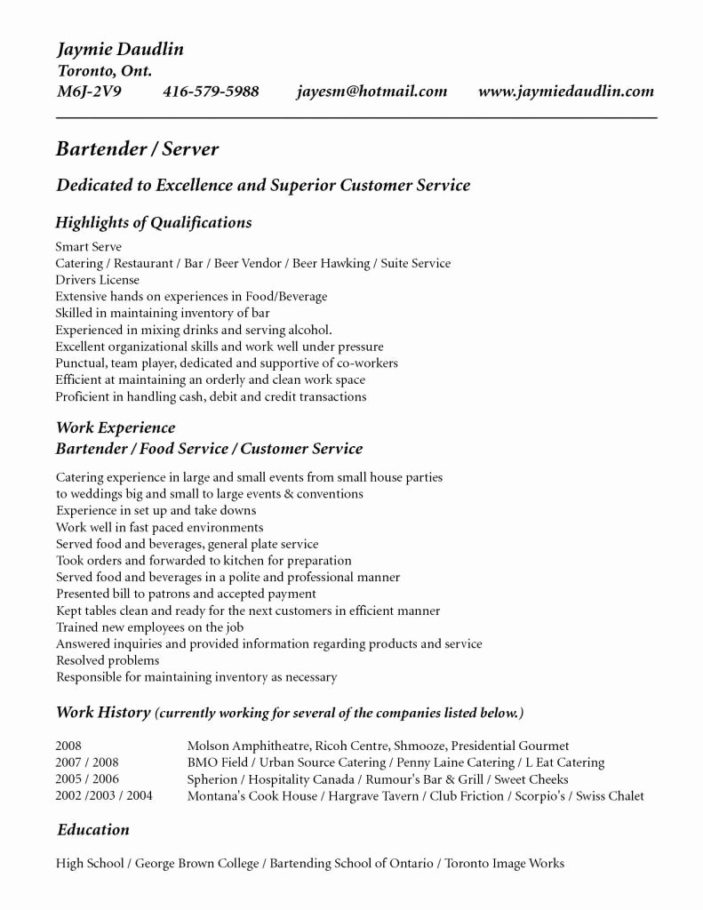Sample Pdf Bartender Duties and Responsibilities Resume