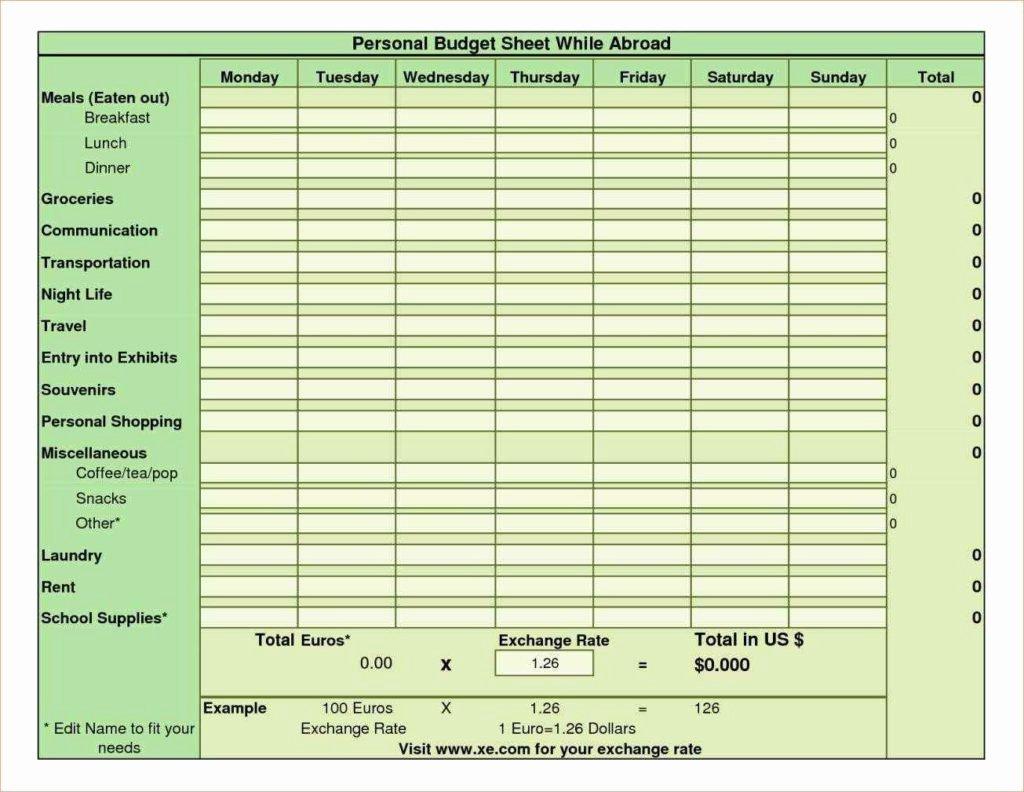 Sample Personal Bud Spreadsheet Bud Spreadsheet