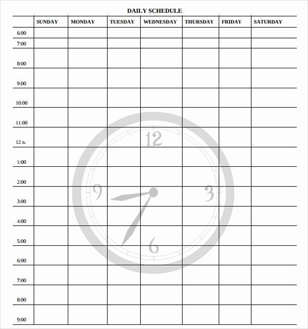 Sample Printable Daily Schedule Template 17 Free