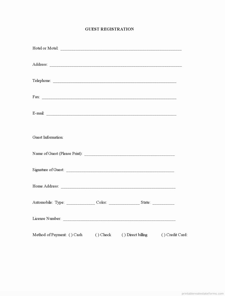 Sample Printable Guest Registration form