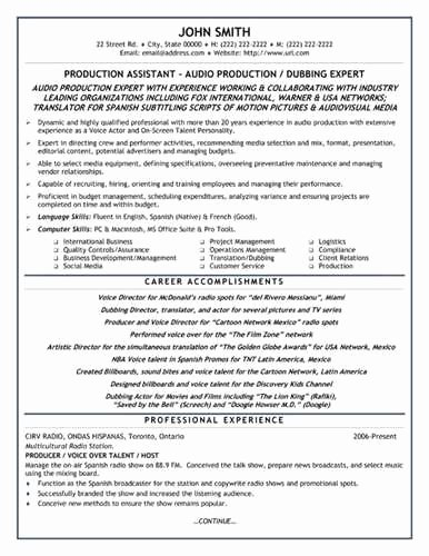 Sample Production assistant Resume