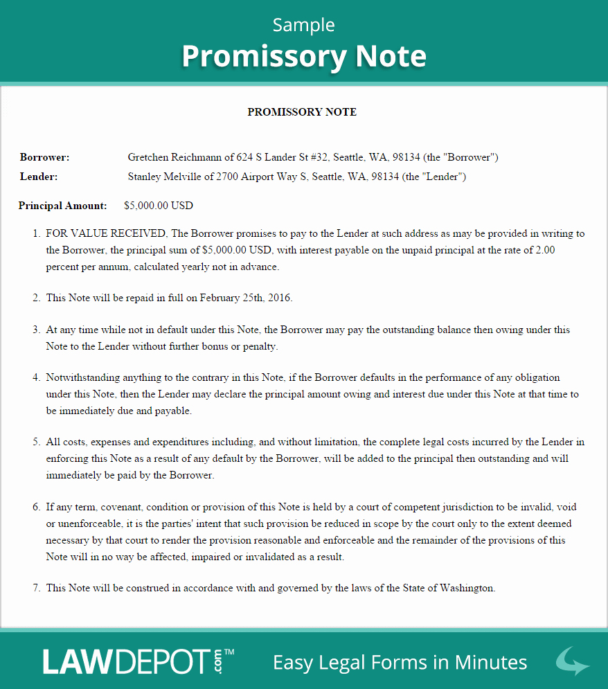 Sample Promissory Note Business Pinterest