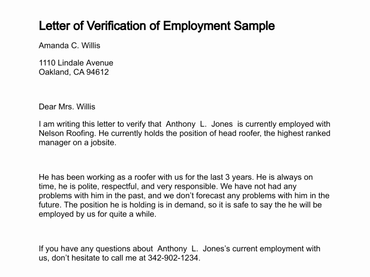 Sample Proof Employment Verification Employment
