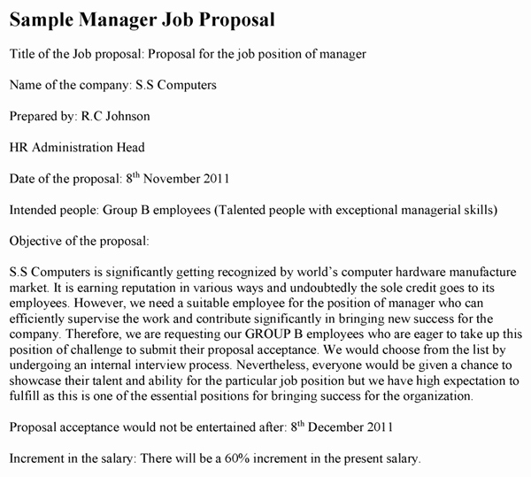 Sample Proposal Letter for A New Job Position