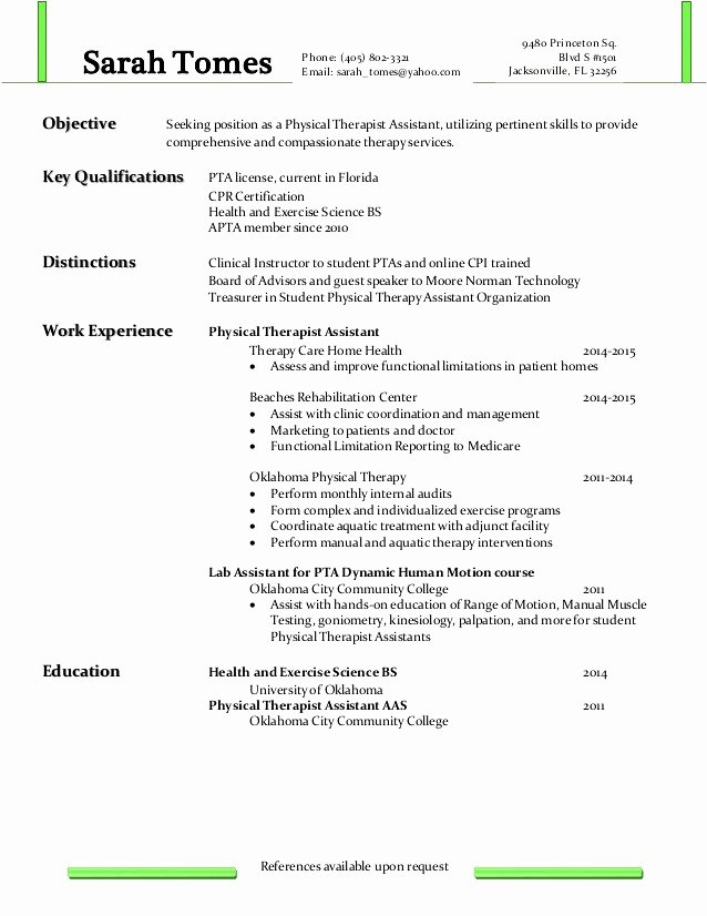 Sample Pta Resume Physical therapy assistant Resume