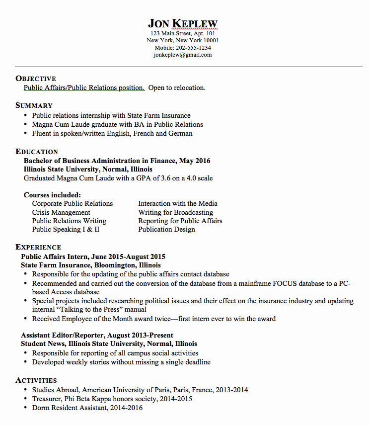 Sample Public Relations Resume Exampleresumecv