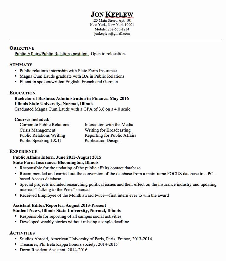Sample Public Relations Resume Exampleresumecv