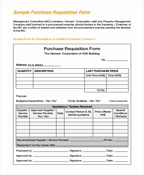 Sample Purchase Requisition forms 8 Free Documents In