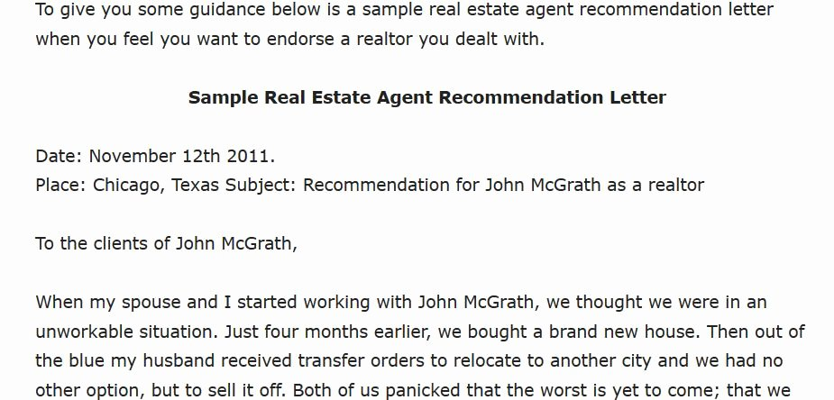 Sample Real Estate Agent Re Mendation Letter