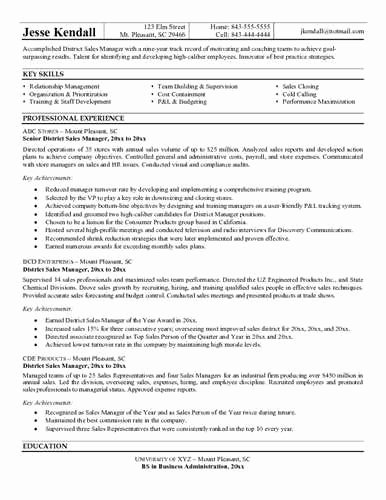 Sample Regional Manager Resume