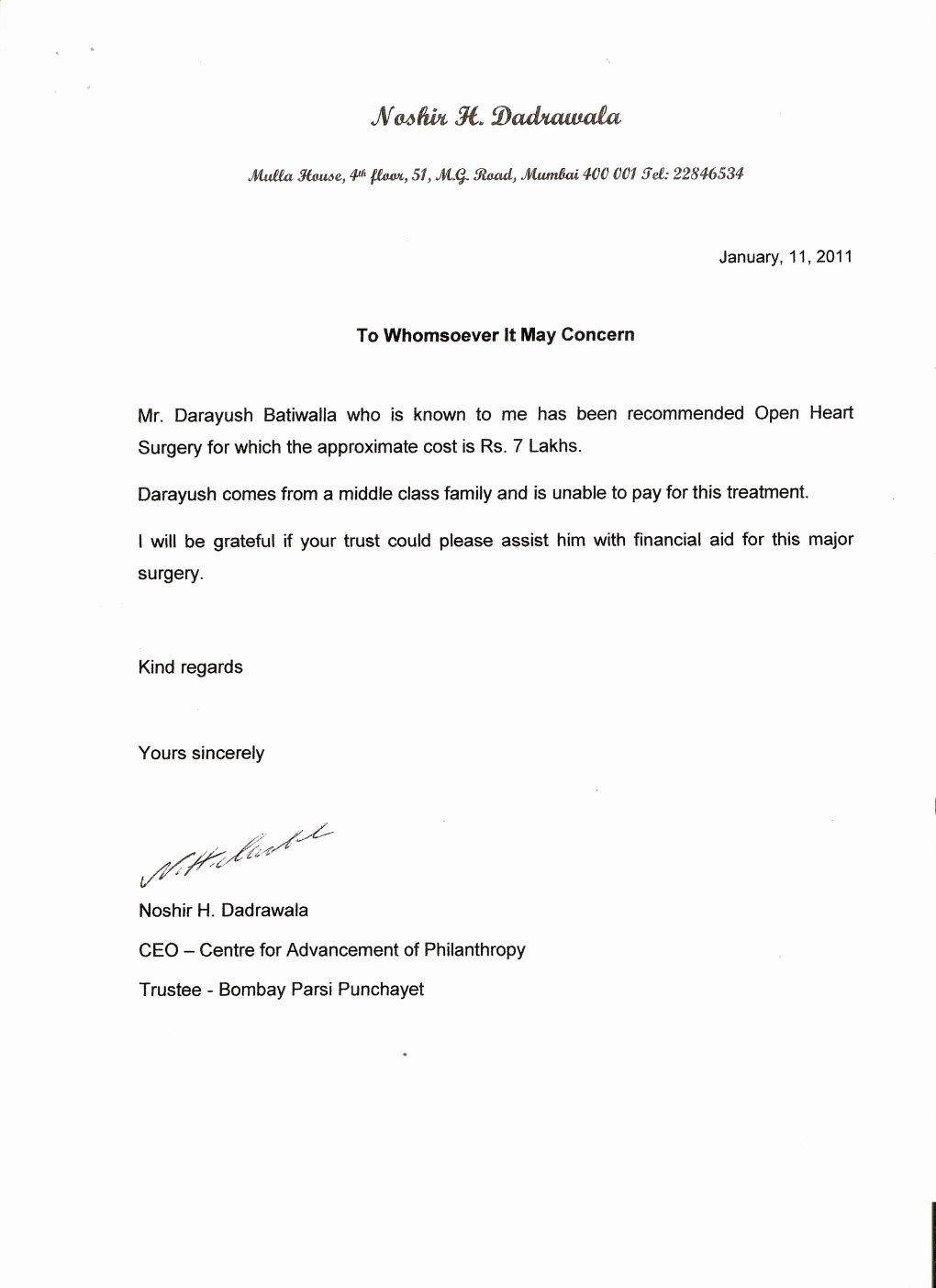 Sample Request Letter for Medical assistance Sample