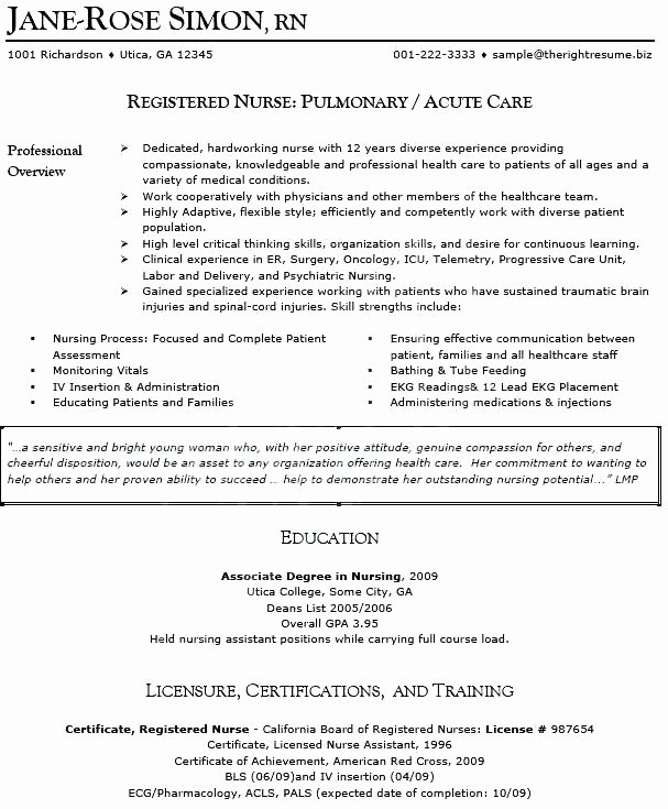 Sample Resume A Nurse Sample Resume Example Resume