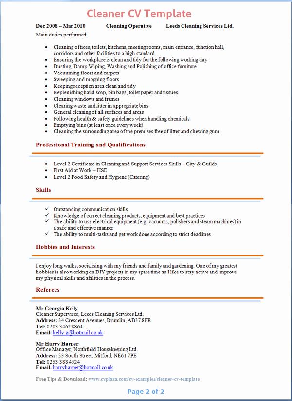 Sample Resume Cleaner Hotel