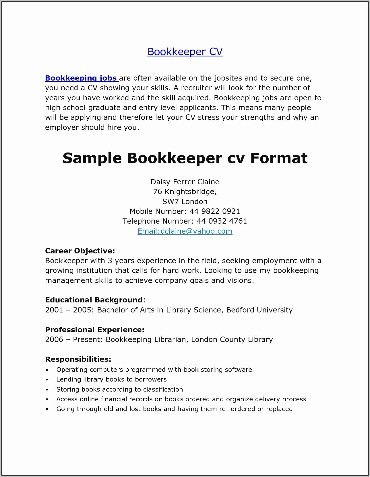 sample resume cover letter for bookkeeper 4597