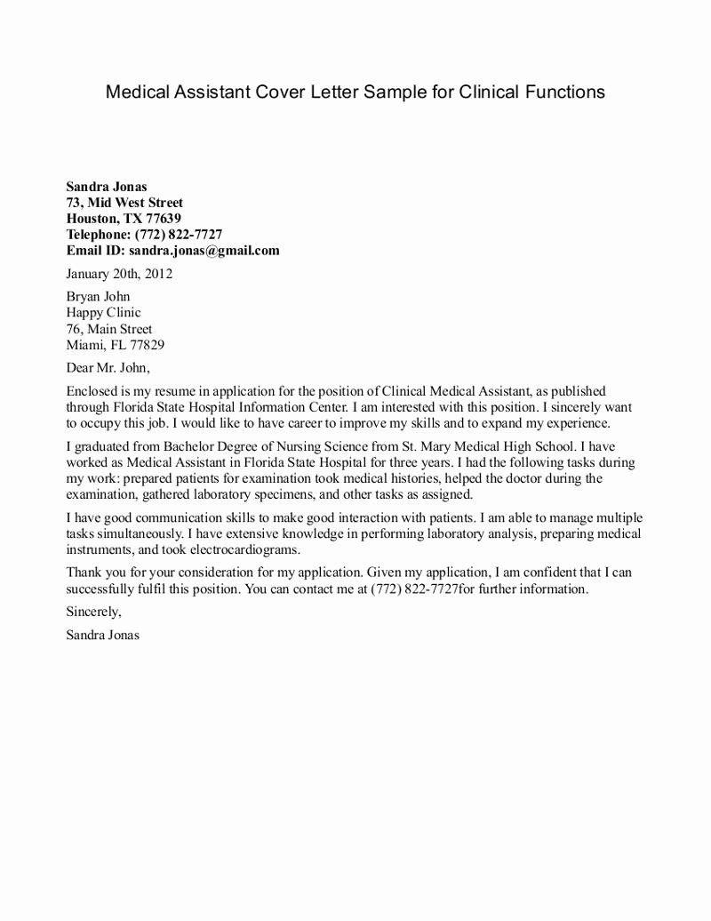Sample Resume Cover Letter for Medical assistant