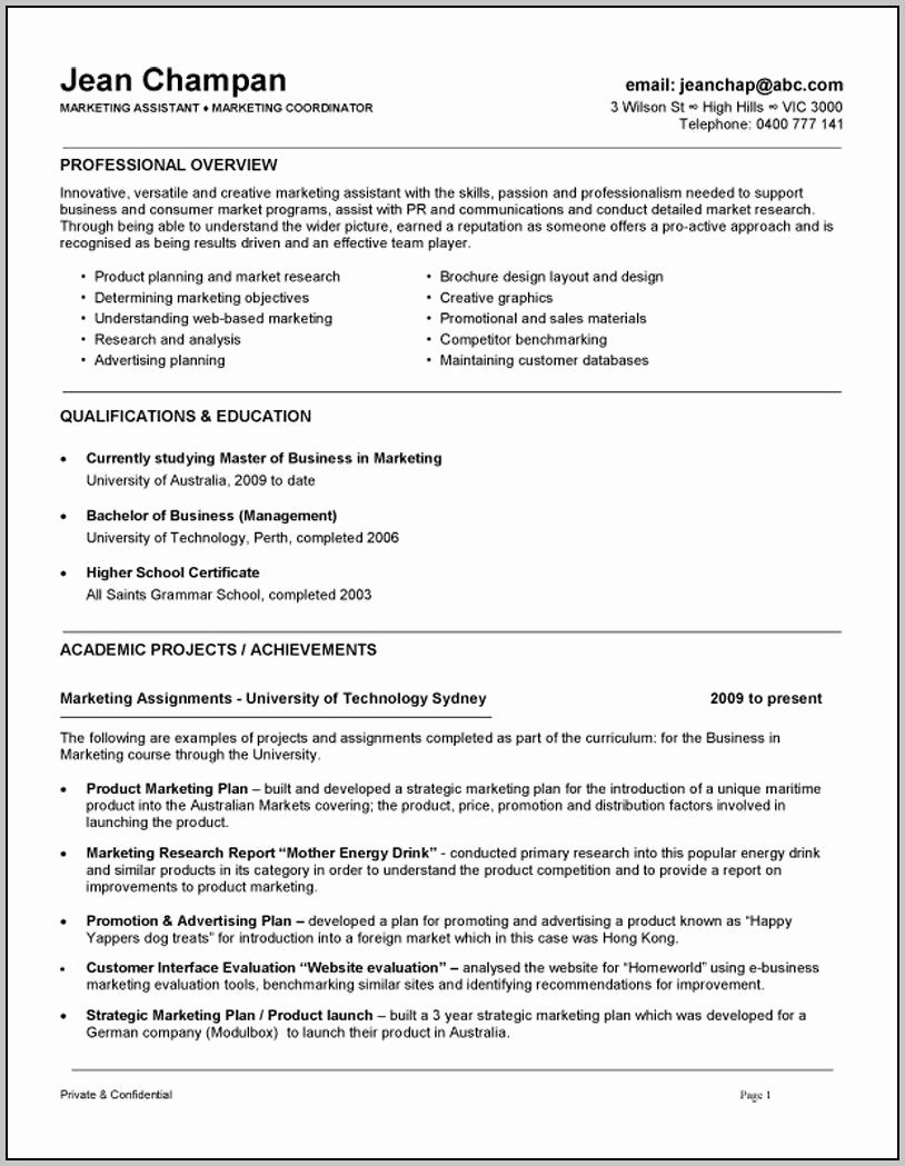 Sample Resume Cover Letter Marketing assistant Cover