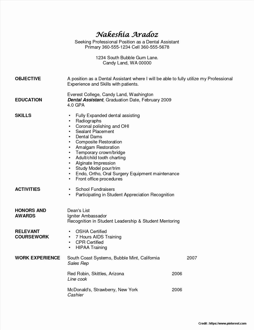 Sample Resume Dental assistant Objective Resume Resume