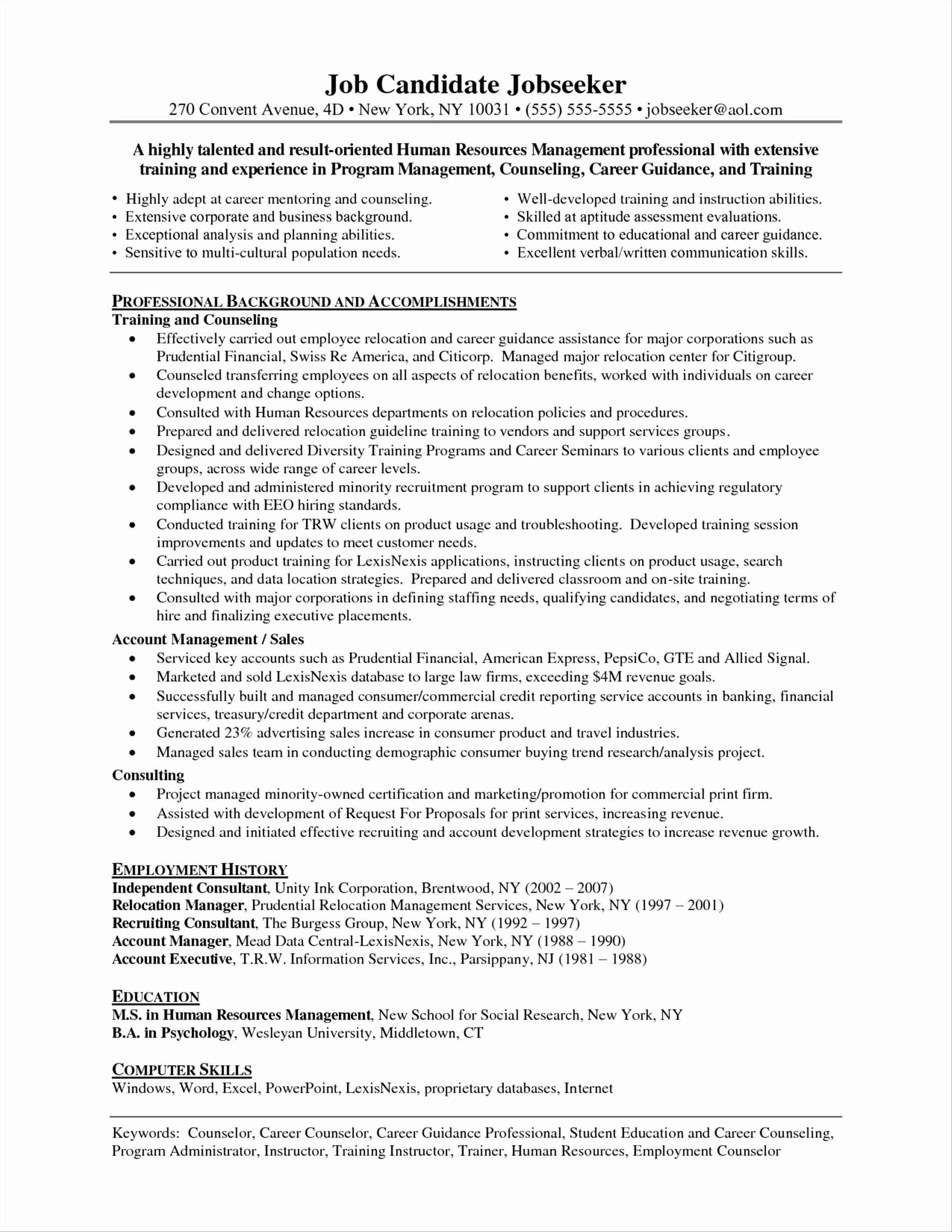 Sample Resume Employment Counselor Bongdaao
