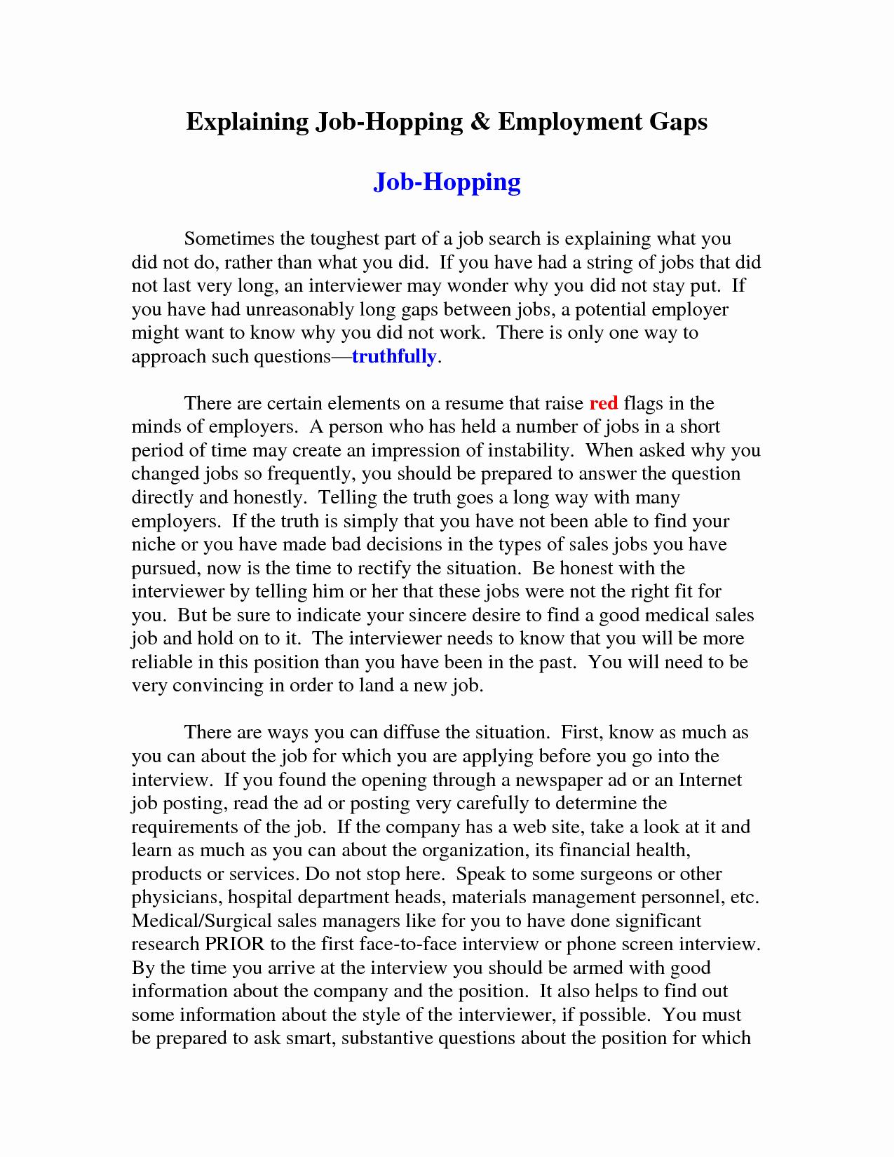 Sample Resume Employment Gaps