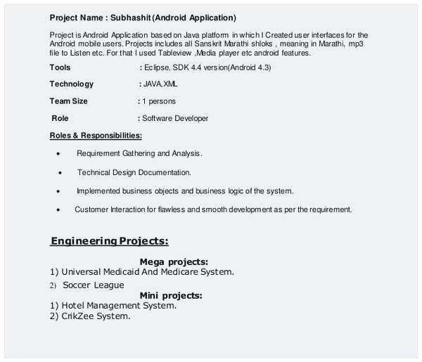Sample Resume for 2 Years Experienced Java Developer