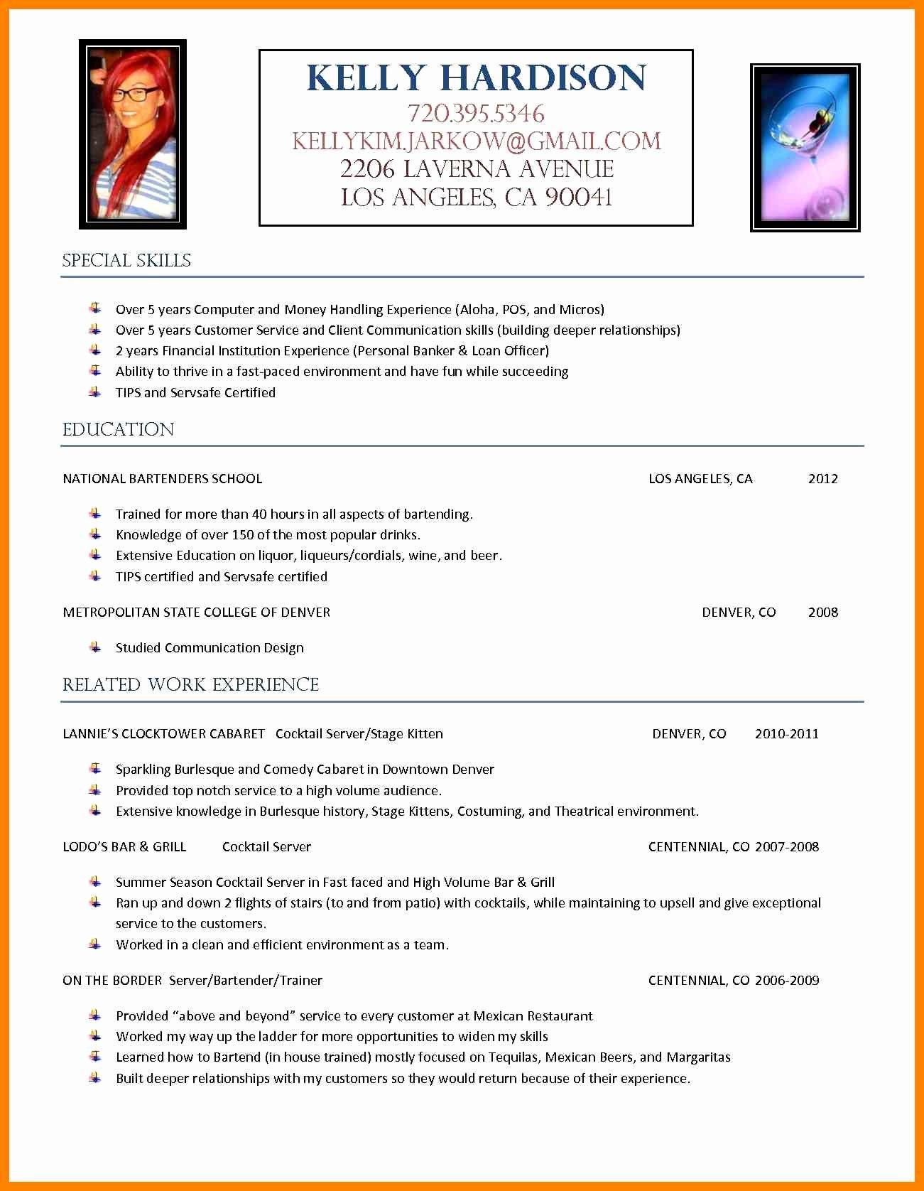 Sample Resume for A Bartender Server Bongdaao