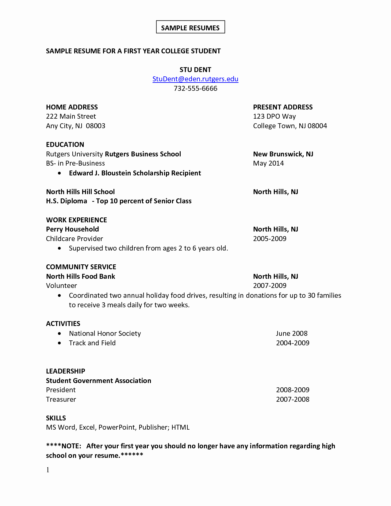 Sample Resume for A First Year College Student with Skills