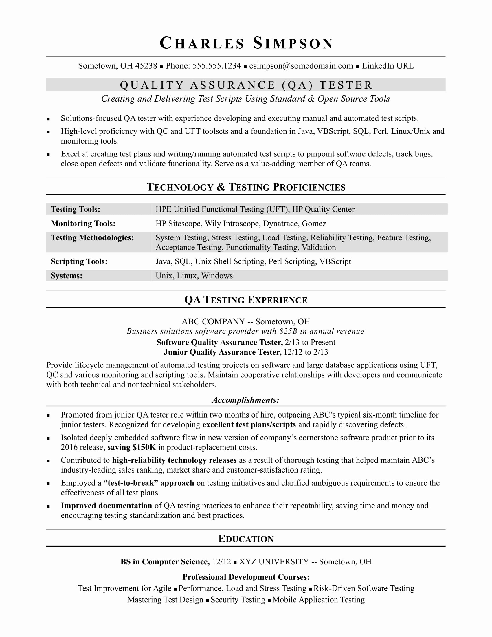 Sample Resume for A Midlevel Qa software Tester