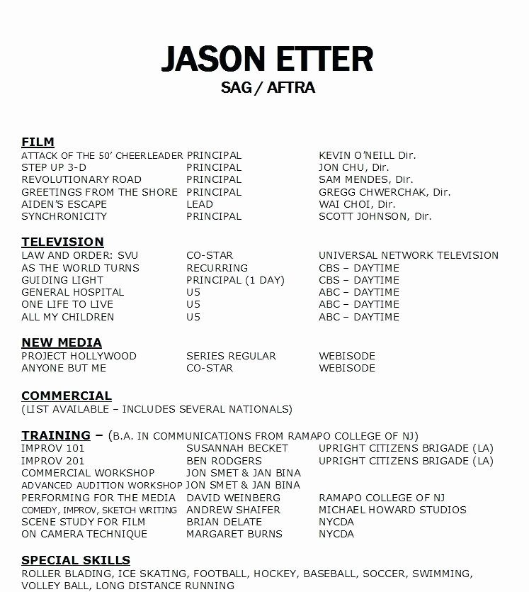 Sample Resume for Actors Actor Template Google Docs