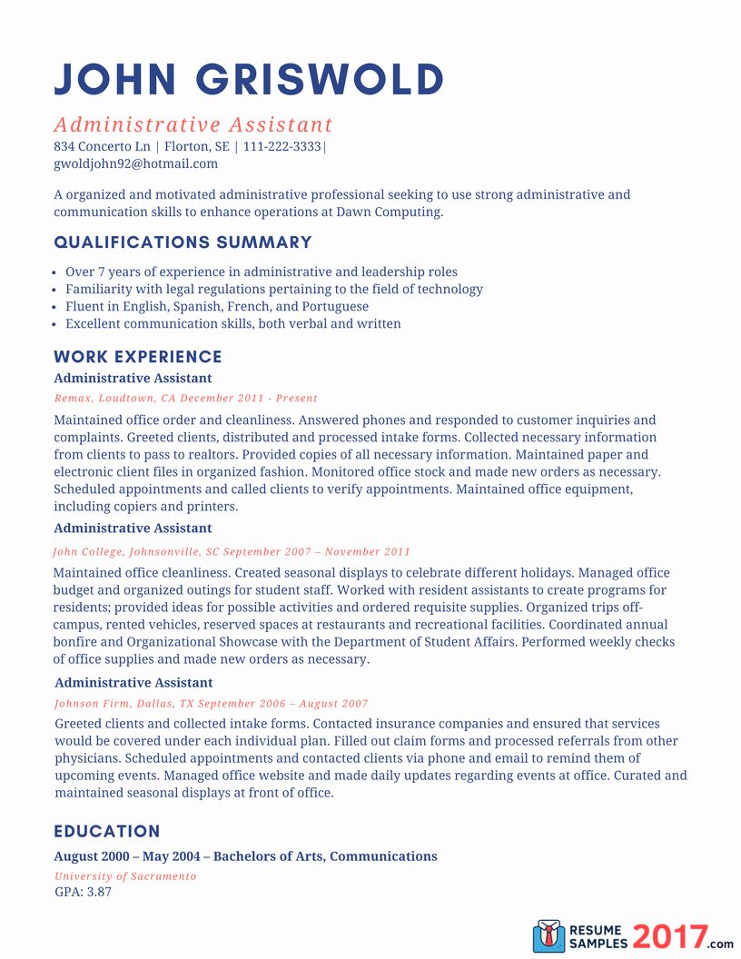 Sample Resume for Administrative assistant 2016 What to