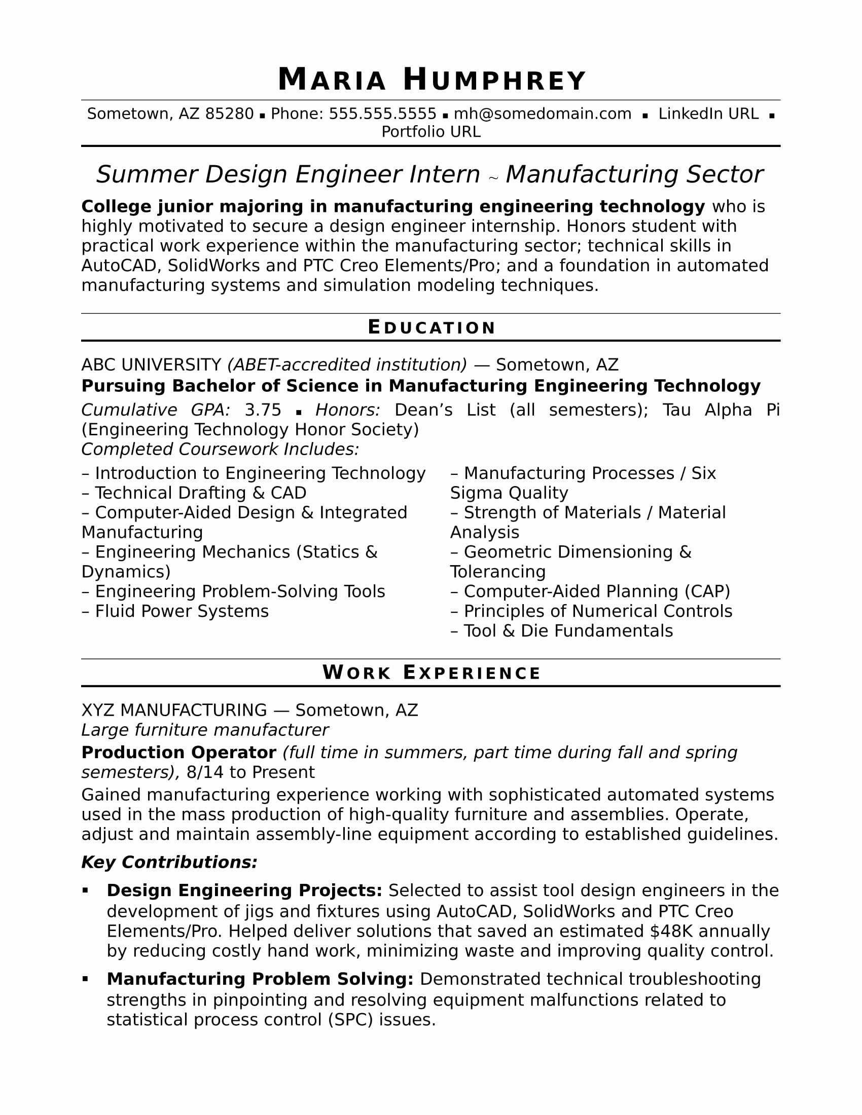 Sample Resume for An Entry Level Design Engineer