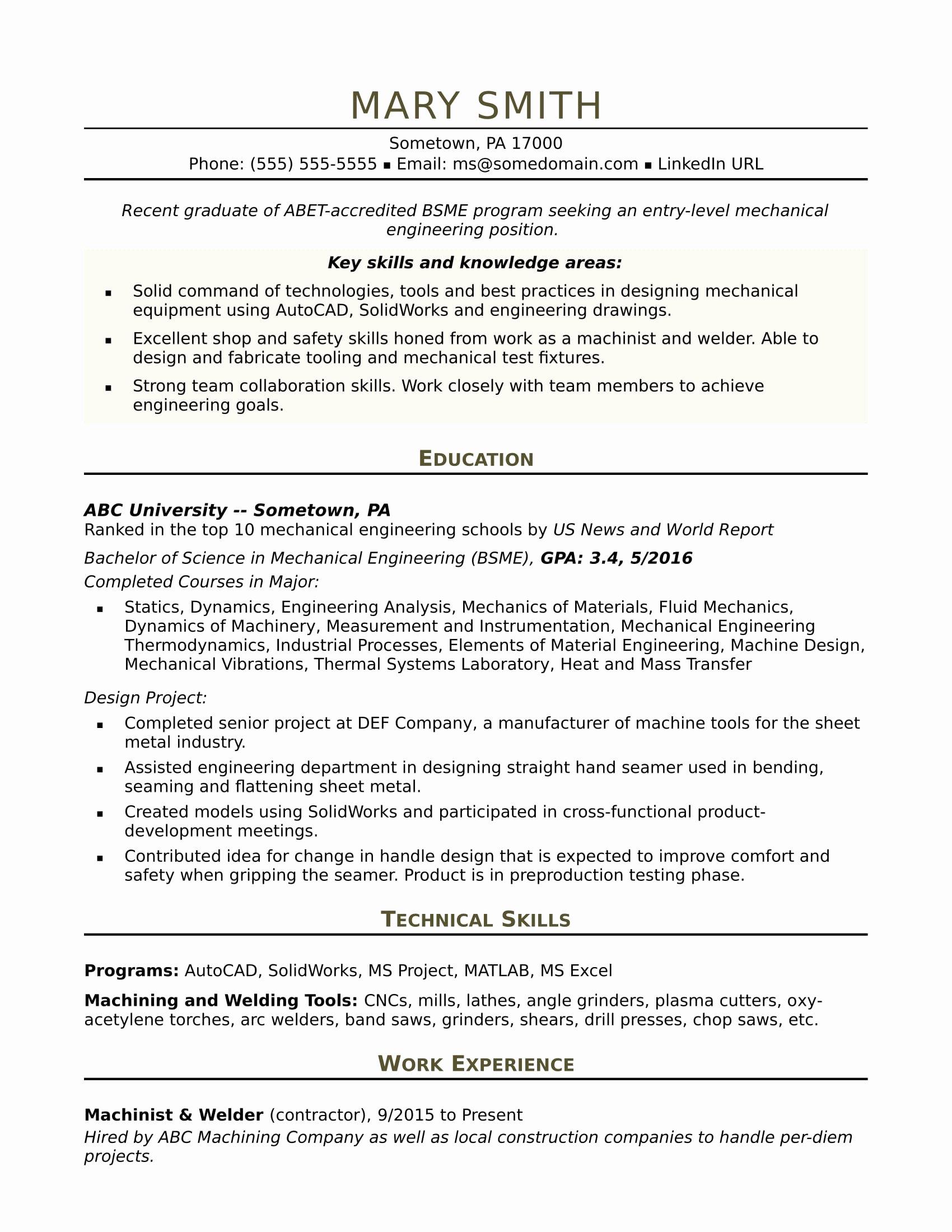 Sample Resume for An Entry Level Mechanical Engineer