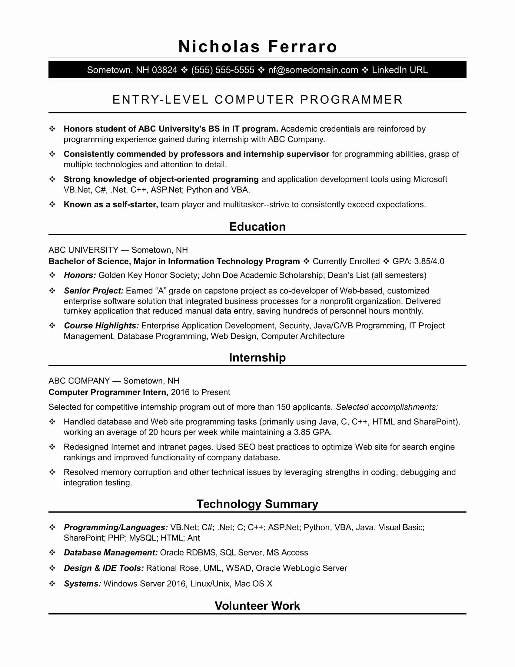 Sample Resume for An Entry Level Puter Programmer