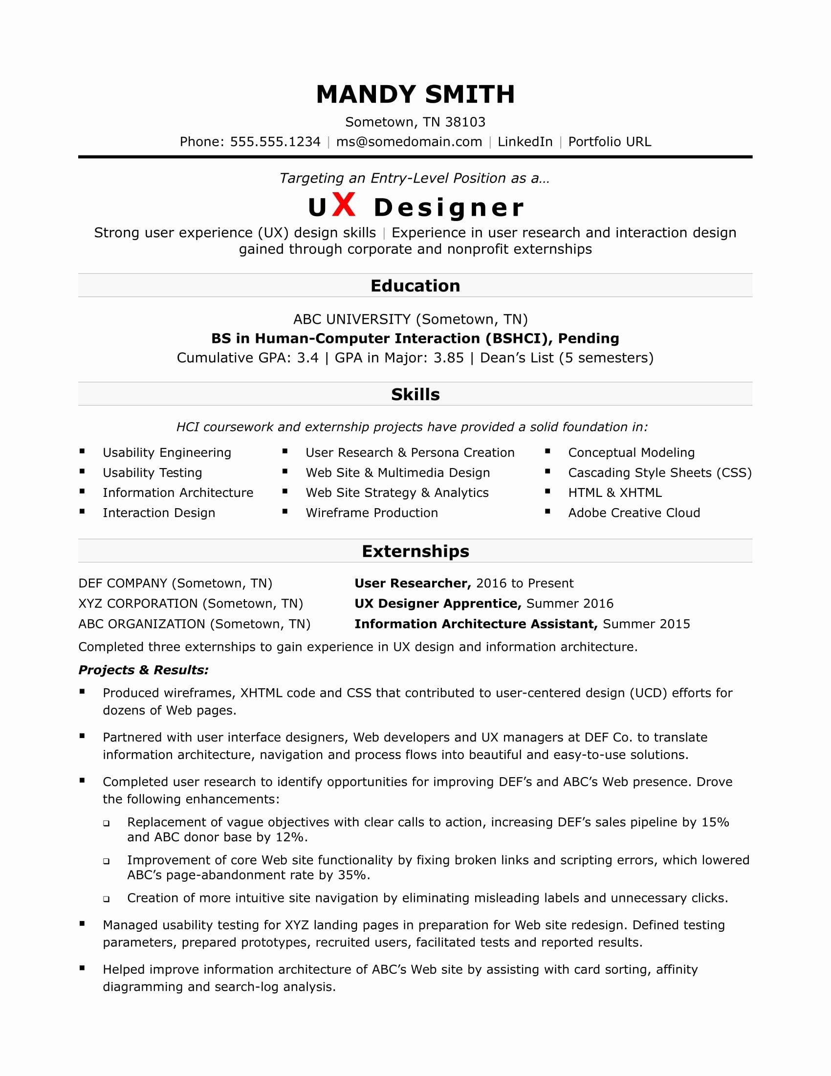 Sample Resume for An Entry Level Ux Designer