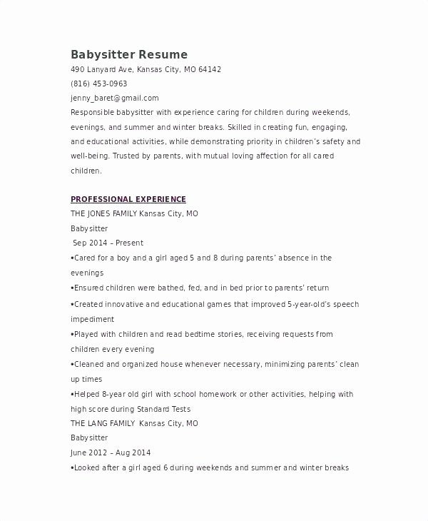 Sample Resume for Babysitter